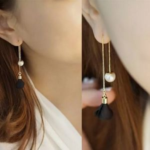 Double Sided Pearl Pull Through Drop Earrings
